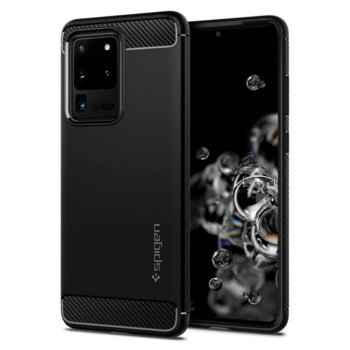 Калъф за Samsung Galaxy S20 Ultra, термополиуретанов, Spigen Rugged Armor ACS00711, черен image