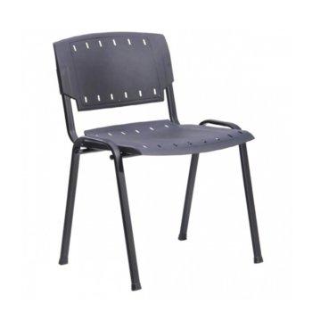 Посетителски стол Visitor Plastic, до 120 кг, пластмасов, черен image