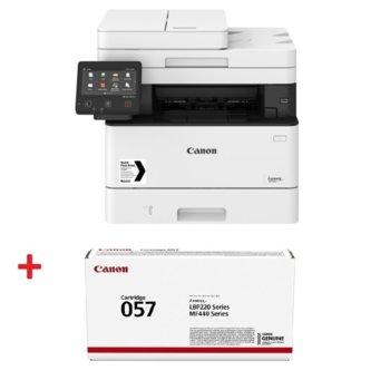 Мултифункционално лазерно устройство Canon i-SENSYS MF446x в комплект с тонер касета Canon CRG-057, монохромен принтер/копир/скенер, 600 x 600 dpi, 38 стр./мин., USB, LAN, Wi-Fi, A4 image