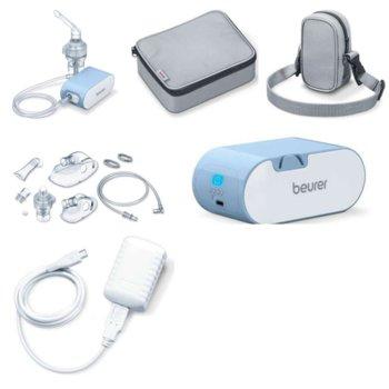 Инхалатор Beurer IH 60, обем на пулверизация 0.25 ml/min, маска за възрастни/деца, за лечение на горната и долната част на дихателната система, бял/син image