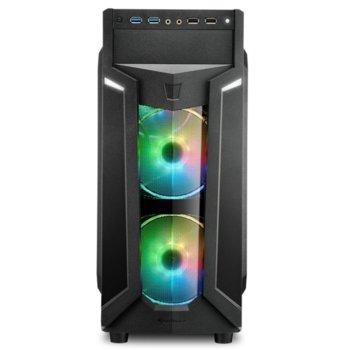 Кутия Sharkoon VG6-W RGB, Mini-ITX/Micro-ATX/ATX, 2x USB 3.0, 2x USB 2.0, черен, RGB подсветка, прозорец, без захранване image