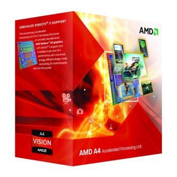 Процесор AMD A4 3300, двуядрен (2.5GHz, 1MB Cache, 443MHz графична честота, 65W, FM1) image
