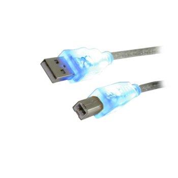 Кабел MediaRange MRCS109, от USB A(m) към USB B(m), 1.8M, синя подсветка, прозрачен image