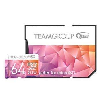 Карта памет 64GB microSDXC, Team Group Color Card II с адаптер, Class10, UHS-I U3, скорост на четене 90MB/s, скорост на запис 45MB/s image