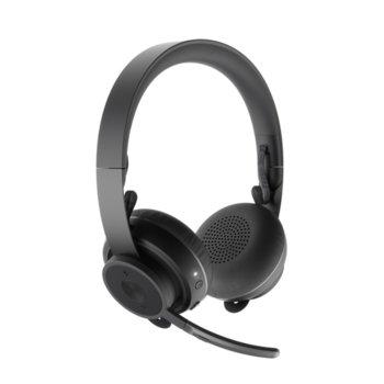 Слушалки Logitech Zone Graphite, микрофон, безжични, Bluetooth, до 16 часа време на работа, сиви image