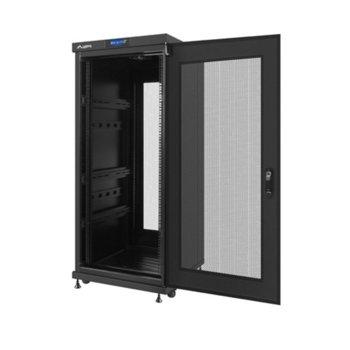 "Комуникационен шкаф Lanberg FF02-6627L-23B, 19"", 27U, 600 x 600 x 1463.2, мрежеста врата, LCD дисплей, черен image"