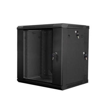 "Комуникационен шкаф Lanberg WF02-6612-10B, 19"", 12U, 600 x 600 x 640.3 mm, черен  image"