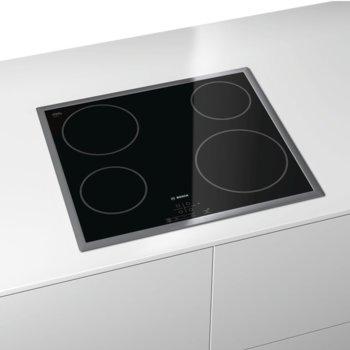 Стъклокерамичен плот за вграждане Bosch PKE645B17E, 4 нагревателни зони, 17 степени на мощност, защита за деца, черен image