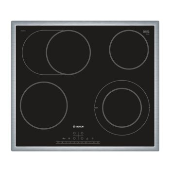 Стъклокерамичен плот за вграждане Bosch PKN 645 FP 1E, 4 нагревателни зони, 17 степени на мощност, дигитален дисплей, черен  image
