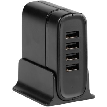 Зарядно за устройство Vivanco USB quattro desktop charger 38825, от контакт към 4x USB Type-А(ж), 5V 3.0A, 1.80m кабел, черно image