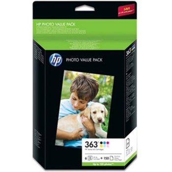 ГЛАВА HEWLETT PACKARD PS3110/3210/3310/D6160/D7160/D7260/D7360/D7460/PSC5180/C6180/C6270/C6280/C6285/C7180/C7280/C8180/PS8250 - HP 363 Series photo pack - 6 colors + 150 sheets 10x15 - P№ Q7966EE image