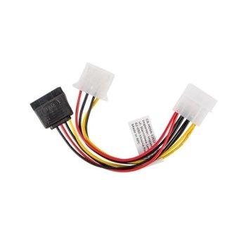 Захранващ кабел Lanberg CA-HDSA-12CU-0015, от Molex(м) към Molex(ж) + SATA(ж), 0.15m image