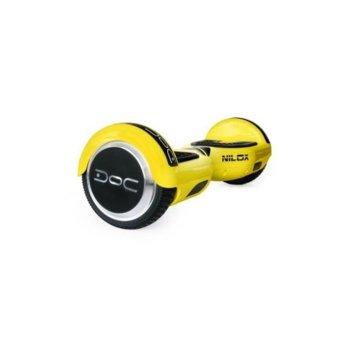 Ховърборд Nilox DOC Yellow, до 10км/ч скорост, 20км макс. пробег, до 100кг, 2x 240W двигатели, жълт image