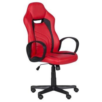 Геймърски стол Carmen 7525 R, до 130кг. макс. тегло, еко кожа, полипропиленова база, газов амортисьор, регулируем, червено-черен image