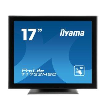 "Дисплей Iiyama T1732MSC-B5X, тъч дисплей, 17"" (43.18 cm), SXGA, HDMI, VGA, Displayport image"
