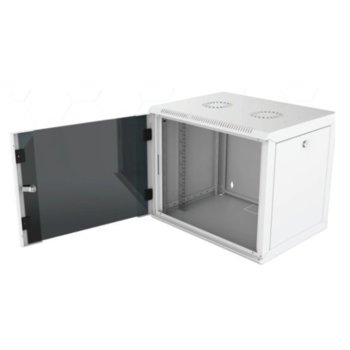 """Комуникационен шкаф Security Professionals MR.WTC20U60MN.02, 19"""", 20U, 565 x 600 x 935, стенен монтаж, товароносимост 80кг, отваряеми странични панели, стъклена врата, вентилационни отвори, сив image"""
