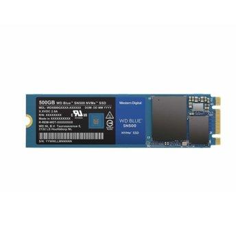 Памет SSD 500GB WD Blue SN500, NVMe, M.2 (2280), скорост на четене 1700MB/s, скорост на запис 1450MB/s image