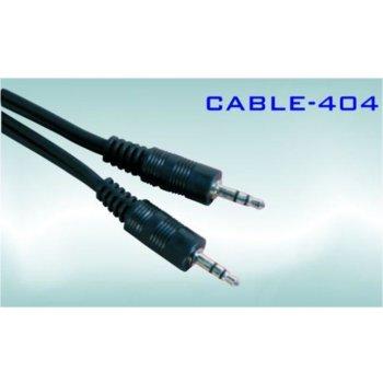 Кабел Royal CABLE-404/1.5, от AUX(м) към AUX(м), 1.5m, черен, никелирани конектори image