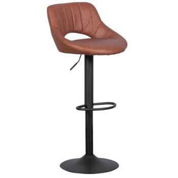 Бар стол Carmen, 3081, газов амортисьор за регулиране на височината, удобна кожена седалка, стабилна основа от прахово боядисан метал, кафяв image