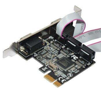 Контролер Makki MAKKI-PCIE-4XSERIAL-V1, от PCIe x1(м) към 4x Serial(DB-9)(ж) image
