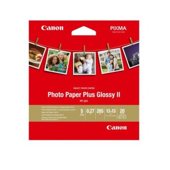 Фотохартия Canon Plus Glossy II PP-201, 13x18cm, гланцирана, 265 g/m2, 20 листа image