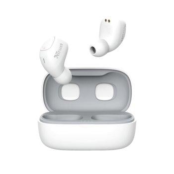 Слушалки TRUST Nika Compact, безжични, Bluetooth, микрофон, до 8 часа време на работа, бели image