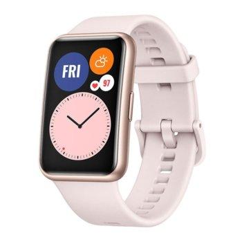 "Смарт часовник Huawei Watch Fit Stia-B09 (Sakura Pink), 1.64"" (4.16 мм) AMOLED дисплей, 4GB памет, до 10 дни живот на батерията, водоустойчив, Bluetooth, златист с Pink Silicone каишка image"