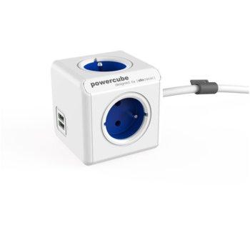Разклонител Allocacoc PowerCube 1402BL, 4x щепсела, 2x USB, 1.5 m, син image