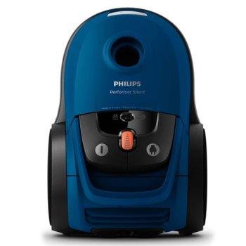 Прахосмукачка Philips Performer Silent FC8779/09, с торба, 650 W, 4 л. капацитет на торбата, енергиен клас A+, синя image