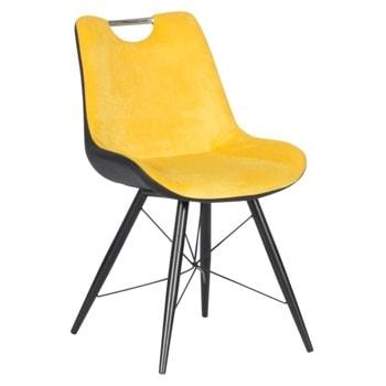 Трапезен стол Carmen PENZA, до 100кг. макс. тегло, дамаска/еко кожа, метална база, жълт image