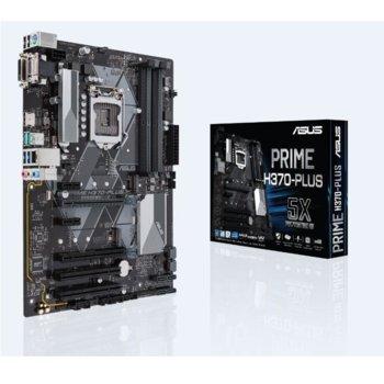 Дънна платка ASUS PRIME H370-PLUS, H370, LGA1151, DDR4, PCI-E (HDMI&DVI)(CFX), 6x SATA 6Gb/s, 2x M.2 Socket, 2x USB 3.1 Gen 2 up to 10Gbps, ATX image