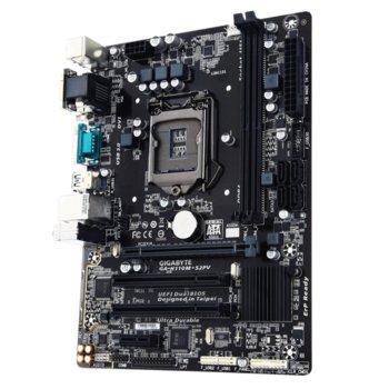 Дънна платка Gigabyte GA-H110M-S2PV (rev 1.0), H110, LGA1151, DDR4, PCI-E (DVI&VGA), 4x SATA 6Gb/s, 2x USB 3.0, microATX image