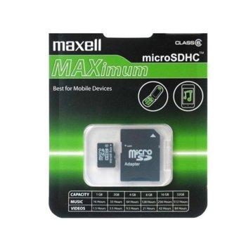 Карта памет 64GB microSDXC с адаптер, Maxell, Class 10, скорост на четене 40MB/s, скорост на запис 10MB/s image