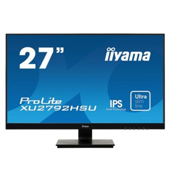 "Монитор IIYAMA XU2792HSU-B1, 27"" (68.58 cm) IPS панел, Full HD, 4 ms, 80000000:1, 250 cd/m2, DisplayPort, HDMI, VGA image"