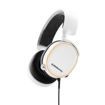 Слушалки SteelSeries Arctis 5 2019 Edition, гейминг, микрофон, контрол на звука, Prism RGB подсветка, бели image