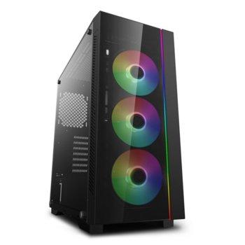 Кутия Deep Cool MATREXX 55 V3 ADD-RGB 3F, E-ATX/ATX/mATX/Mini-ITX, 1x USB 3.0, 3x 120mm ADD-RGB вентилатора, страничен прозорец, подсветка, черна, без захранване image