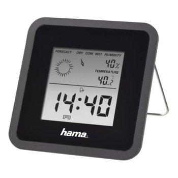 Цифров термометър/хигрометър Hama TH-50, часовник / календар / аларма, черен image