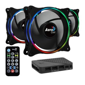 Вентилатор 120mm AeroCool Fan Pack 3 in 1 ECLIPSE 12 Pro, 4-pin, 3 броя, контролер, дистанционно, 1200 rpm, RGB подсветка image