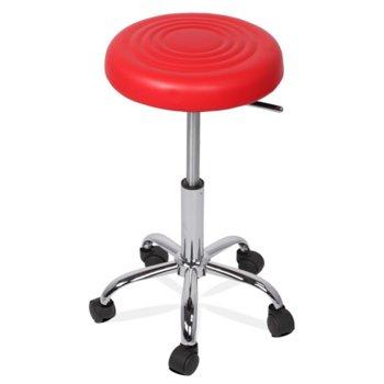 Бар стол Carmen 3075, с колелца, хромирана база, еко кожа, механизъм за регулиране на височината, червен image