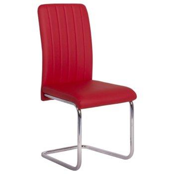 Трапезен стол Carmen 372, еко кожа, хромирана база, червен image