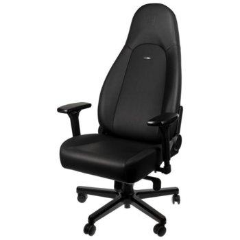 Геймърски стол noblechairs ICON Black Edition, хибридна еко кожа, алуминиева база, 4D подлакътници, до 150 кг, черен image