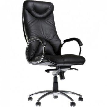 Директорски стол ELF Steel LE-01, естествена кожа, газов амортисьор, люлеещ механизъм, метални подлакътници с тапицирани падове, алуминиева основа, черен image