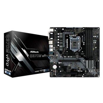 Дънна платка ASRock Q370M vPro, Q370, LGA1151, DDR4, PCI-Е (DisplayPort&HDMI&DVI-D&D-Sub)(CFX), 6x SATA3 6.0, 1x Ultra M.2, 4x USB 3.1, Micro ATX image