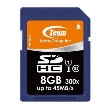 Карта памет 8GB SDHC, Team Group, Class 10 UHS-I, скорост на четене 40MB/s, скорост на запис 15MB/s image