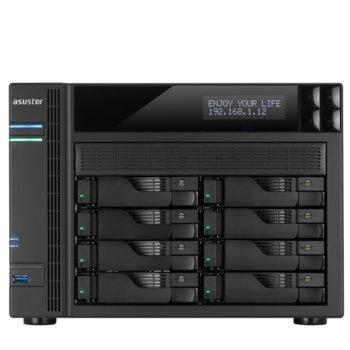 """Мрежови диск (NAS) Asustor AS6208T, четириядрен Intel Celeron 1.6/2.24GHz, без твърд диск(8x SATA3/2.5""""/3.5""""/SSD), 2GB DDR3L RAM, 4x Lan1000, 1x HDMI, 3x USB 3.0, 2x USB 2.0, 2x eSATA image"""