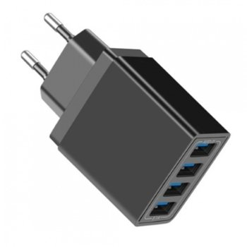 Зарядно устройство Digital One SP01043, от контакт към 4x USB A 3.0(ж), QC 3.0, 5V, 5.1A, черно image