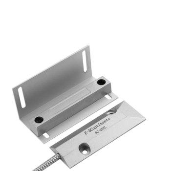 Магнитен датчик (мук) за ролетни врати, цинкова сплав, комплект с L-образна планка за магнита, сив image