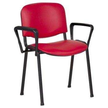 Посетителски стол Carmen 1151 LUX, метални крака, полипропиленови облегалки за ръце, еко кожа, червен image