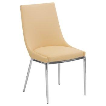 Трапезен стол Carmen 322, еко кожа, хромирани крака, кремав image