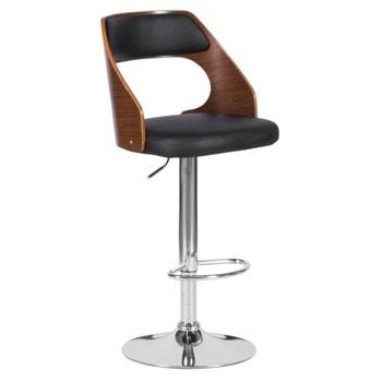 Бар стол Carmen 4035, до 100кг, еко кожа, хромирана база, газов амортисьор, коригиране на височината, черен image
